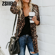 winter ladies Leopard Casual Long Sleeve Animal print women Jacket Kimono Slim F