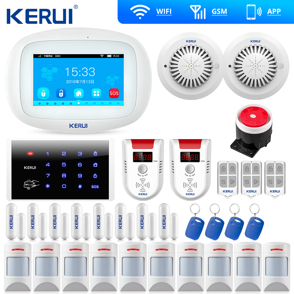 KERUI K52 Touch Screen TFT Color Display WIFI GSM Alarm Home Alarm Security Door Open Reminder Wifi IP Camera