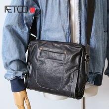 Aetoo мужская кожаная модная сумка через плечо первый слой кожи