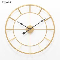 50/60cm Reloj de pared de Metal redondo grande Reloj de pared silenciosa relojes de diseño moderno para decoración del hogar Oficina estilo europeo