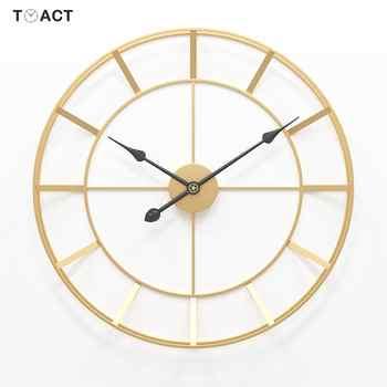 Grande montre murale ronde en métal 50/60cm | Horloge murale silencieuse, au Design moderne, pour décoration de maison, bureau, Style européen