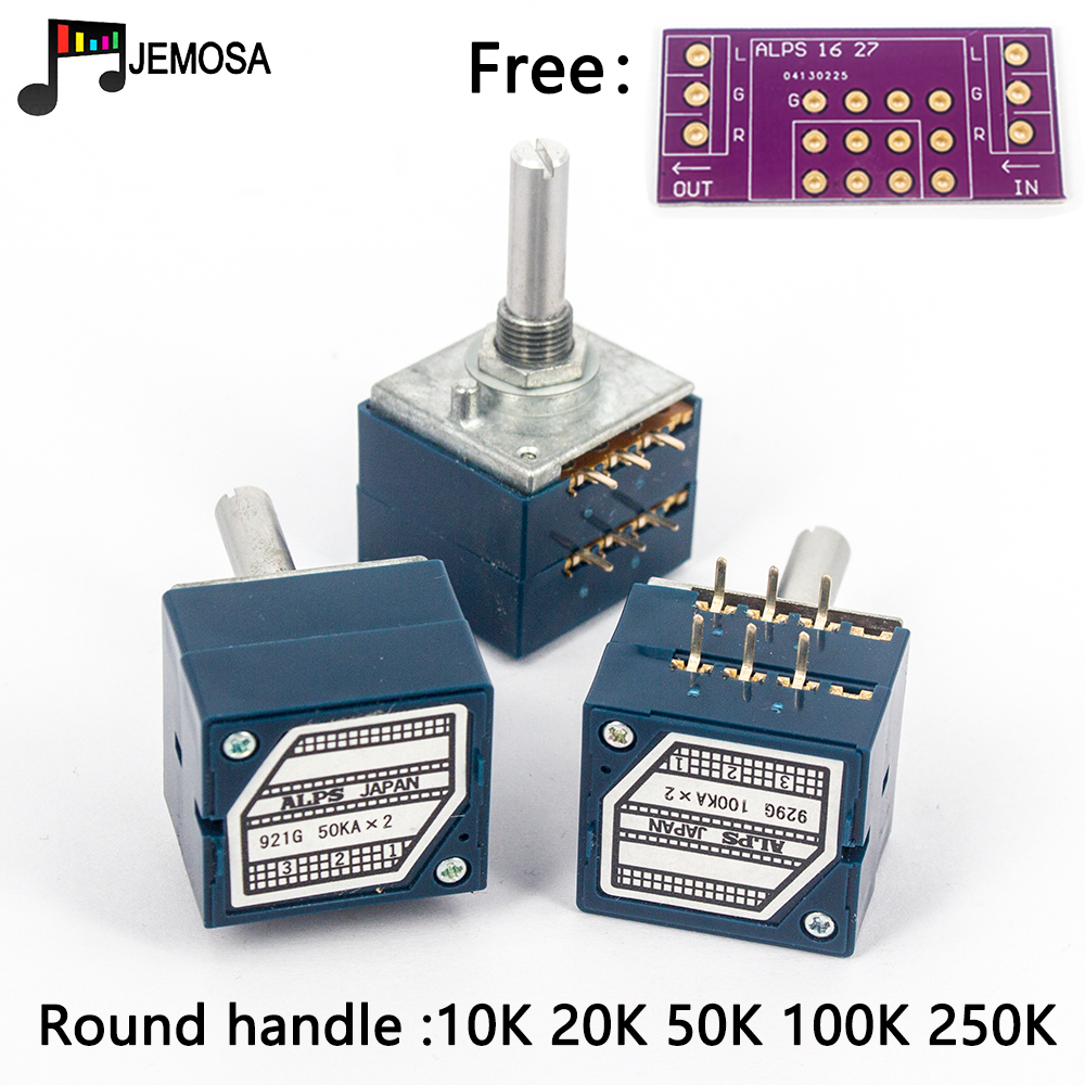 1PC Japan ALPS RK27 Volume LOG Stereo Potentiometer 2-gang Dual 10K/20K/50K/100K/250K Potentiometer Round Handle + PCB