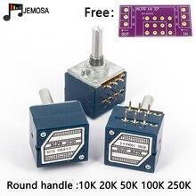 Potenciómetro de registro de volumen japonés ALPS RK27, potenciómetro para estéreo de 2 entradas, doble 10K/20K/50K/100K/250K, mango redondo + PCB, 1 ud.