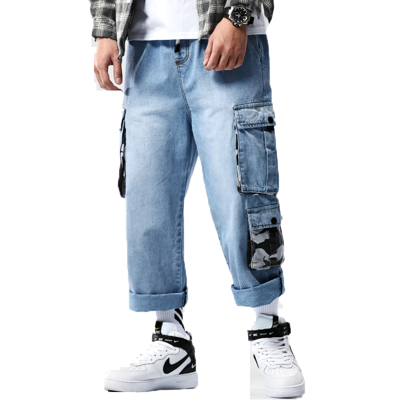 2020 Mens Denim Cargo Pants Men Baggy Blue Jeans Side Pockets Biker Jeans Men Hip Hop Ankle-Length Pants Male Joggers Trousers