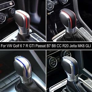 Image 5 - Car Red/Blue Gear Shift Knob Lever Stick Chrome Matt For Volkswagen VW Golf 7 DSG Cover Emblem