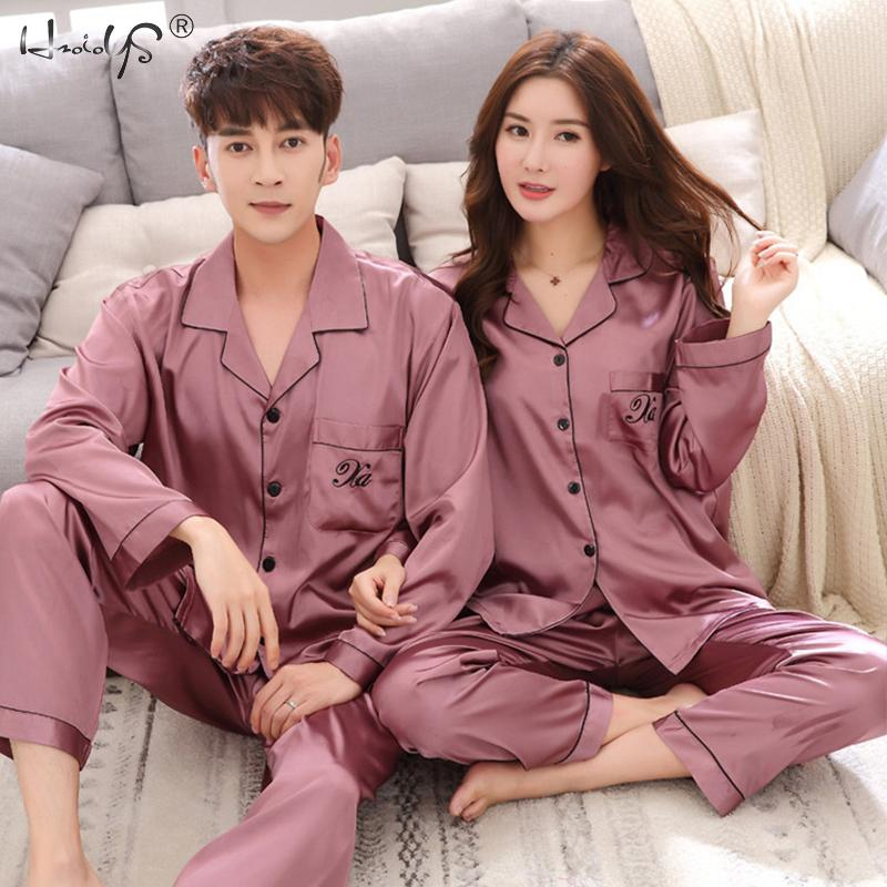 Couple Sleepwear Pajama-Suit Night-Suit Family Satin-Silk Home Casual Lover Clothing
