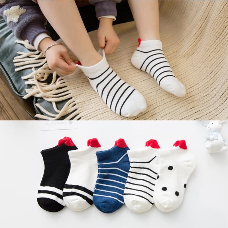 5 пар/лот детские носки на осень-зиму, хлопковые носки для девочек короткие носки От 1 до 12 лет детей с принтом «сердце» для мальчиков Дышащие ...