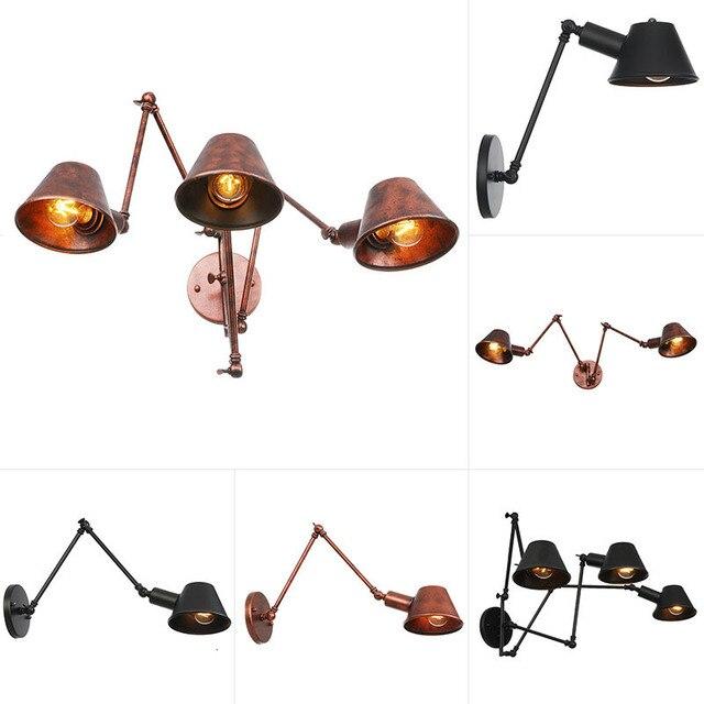 الرجعية لوفت ماتي الحديد الظل قابل للتعديل سوينغ الذراع القراءة مصابيح الحائط أضواء اديسون E27/E26 الشمعدان لغرفة العمل غرفة نوم بار مقهى
