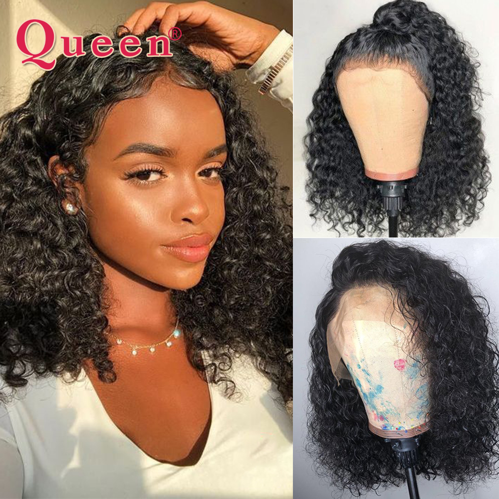 4*4 Short Lace Closure Human Hair Wigs Brazilian Curly Wave Human Hair Wigs For Black Women Remy Swiss Lace QUEEN Hair Products