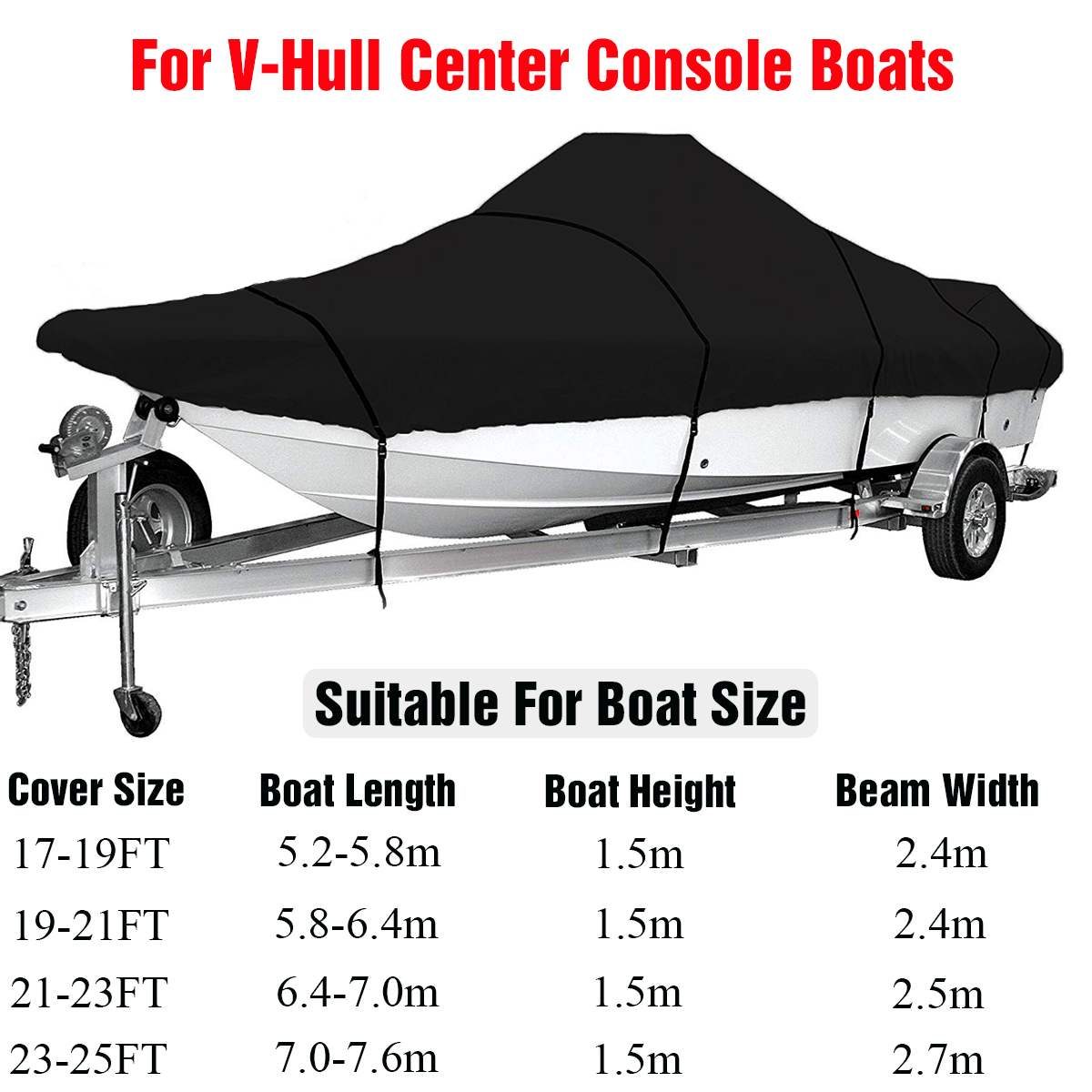 For 17-25FT Marine Grade 210D Trailerable Boat Cover Waterproof Fish-Ski V-Hull Sunproof UV Protector Boat Mooring Cover