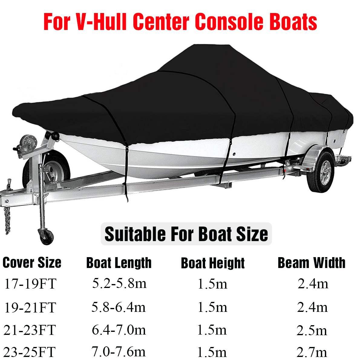 For 17-25FT Marine Grade 210D Trailerable Boat Cover Waterproof Fish-Ski V-Hull Sunproof UV Protector Boat Mooring Cover