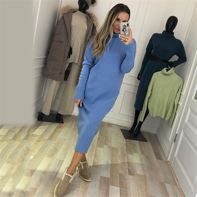 TYHRU Autumn Women's Knit Dresses Fashion Solid Color High Collar Pullover Long Sleeve Knitted Dress 2