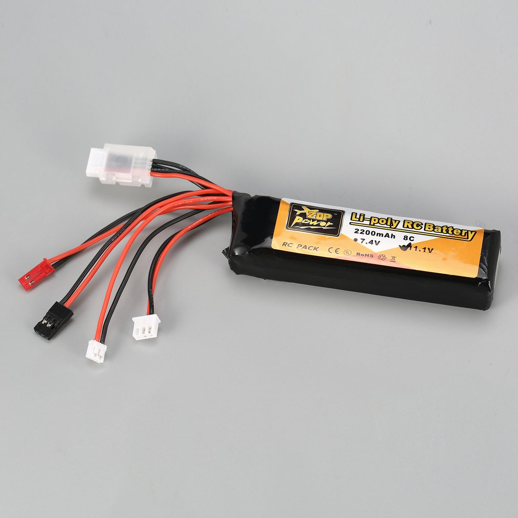 ZOP Power 11.1V <font><b>2200mAh</b></font> 8C <font><b>3S</b></font> 3S1P <font><b>Lipo</b></font> Battery JST JR Futaba Plug Rechargeable For RC Drone Helicopter Quadcopter Transmitter image