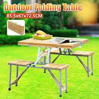 Outdoor Folding Table Chair Camping Wooden + Aluminium Alloy Picnic Table Waterproof Ultra light Durable Folding Table