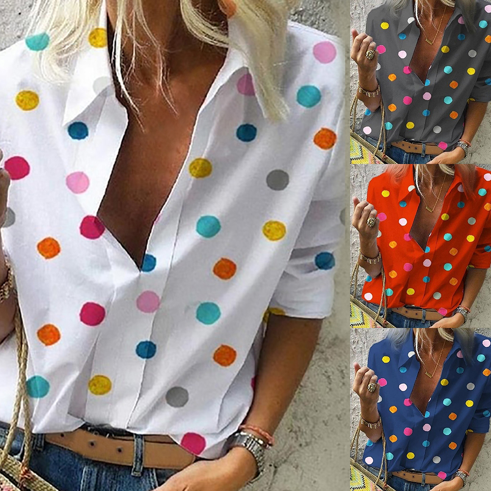 Women Colourful Dot Print   Blouse   Tops Women Office Style 2019 Casual Long Sleeve Polka   Shirt   and   Blouses   V Neck Slim   Shirts