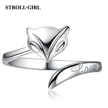 Strollgirl New Arrival 925 Sterling Silver Animal Fox Rings with Long Tail Finger Ring for Women Jewelry Gift