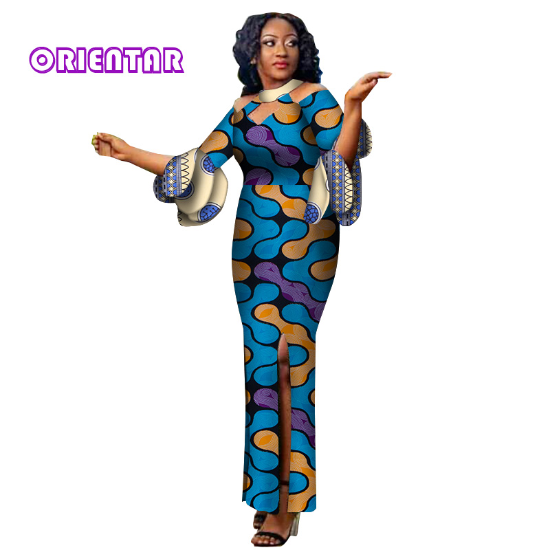 2020 Bazin Riche African Long Dresses For Woman Print Splice Dashiki African Women Private Custom Clothes Plus Size WY2845