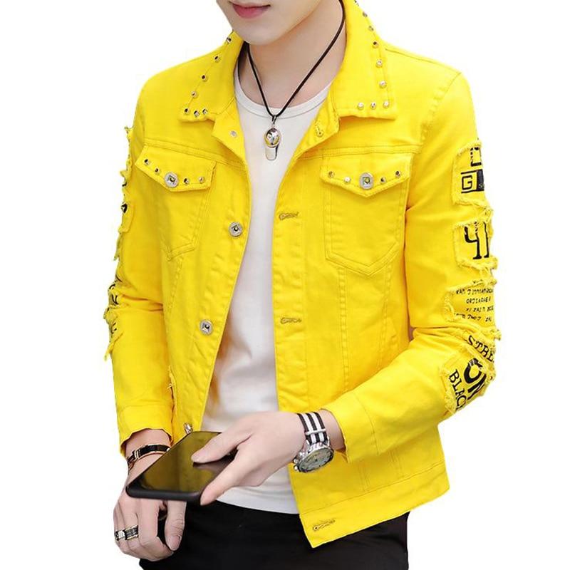 BANNAJI Harajuku Men`s Fashion Denim Jacket With Rivet Printed Studded Street Wear Slim Fit Letters Jeans Coat