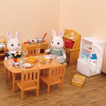 숲 동물 가족 빌라 1:12 가구 장난감 숲 홈 미니 침실 세트 DIY Miniatura 인형 집 가구 키즈