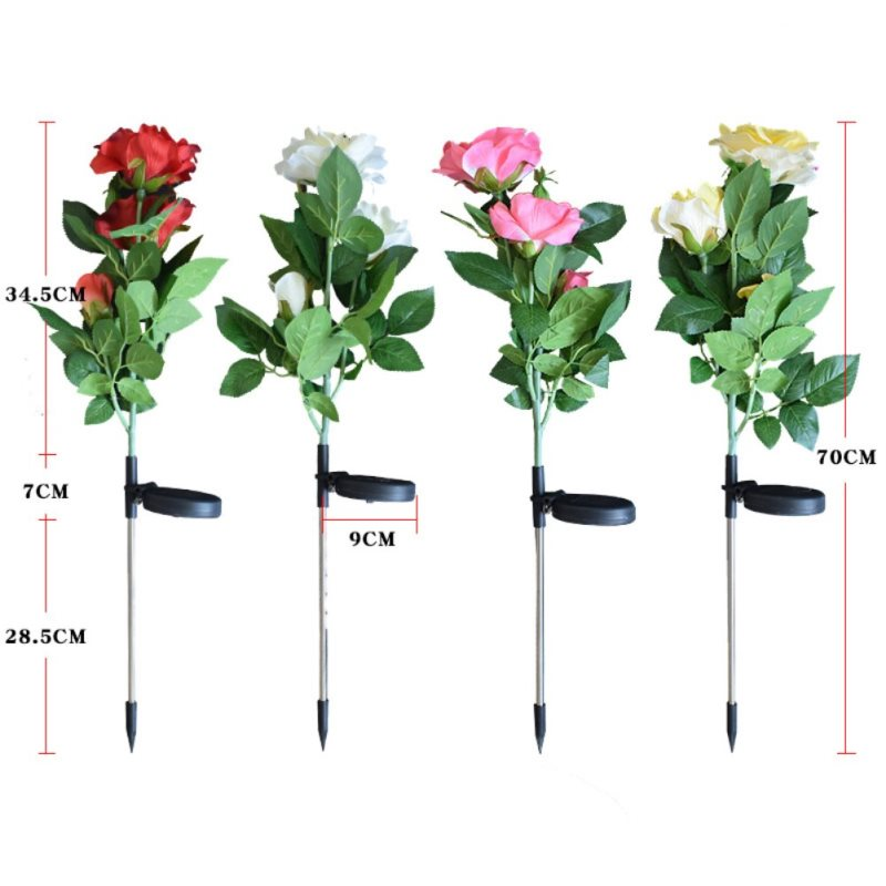 Solar LED Peony Flower Light Color Energy Saving Lawn Lamps Outdoor Garden Path Yard Decoration 3LED Flower Party Lamp New
