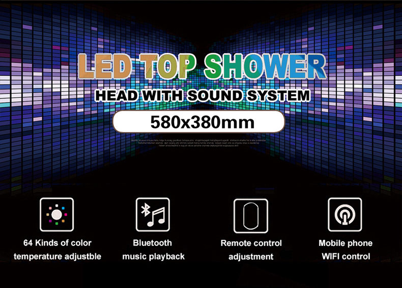 Hfe001dec524e4390a5cd00c1d7463199h M Boenn Luxury Rose Gold LED Shower System Music ShowerHead Bathroom Faucets Rain Shower Set Thermostatic Brass Concealed Mixer