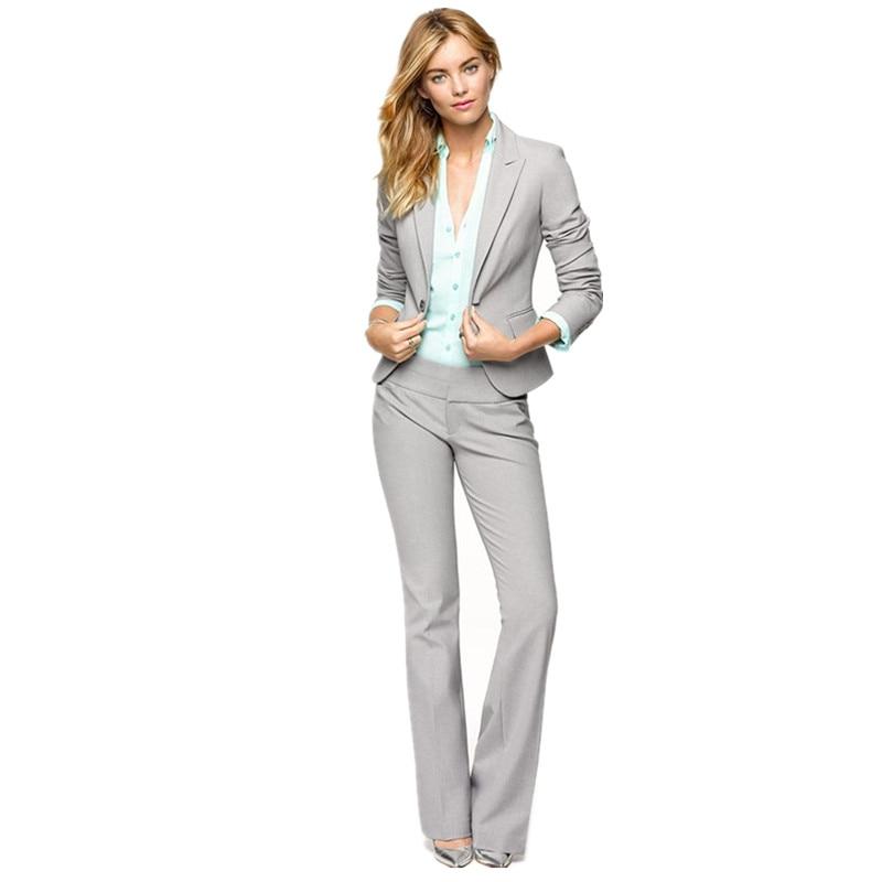 Light Gray Women Pants Suits Blazer Business Work Wear Uniforms Ladies Pant  Suits Trouser Suit Women Formal Blazer+Pants|ladies pant suits|ladies pants  suits businesstrouser suits women - AliExpress