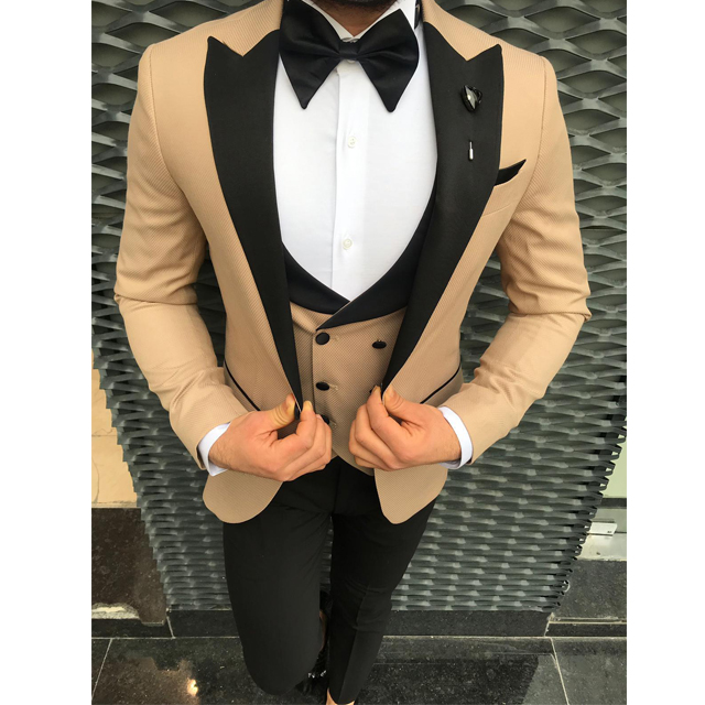Handsome Groomsmen Wool blend Groom Tuxedos Mens Wedding Dress Man Jacket Blazer Prom Dinner (Jacket+Pants+Tie+Vest) A181