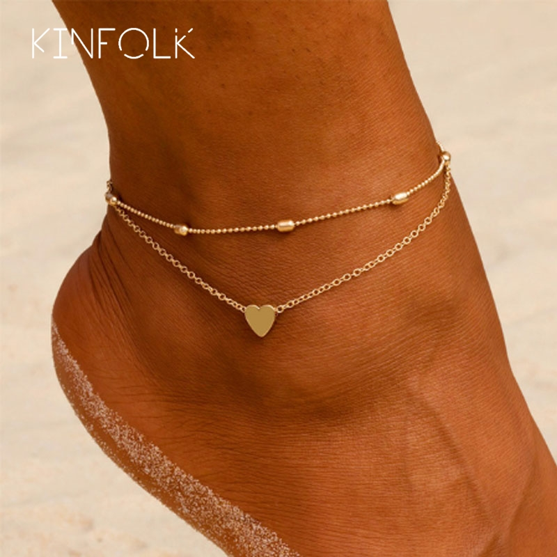 KINFOLK Fashion Simple Gold Heart Female Bracelets Anklets For Women Anklet On Foot Link Jewelry Anklet Bracelet on Leg Chain