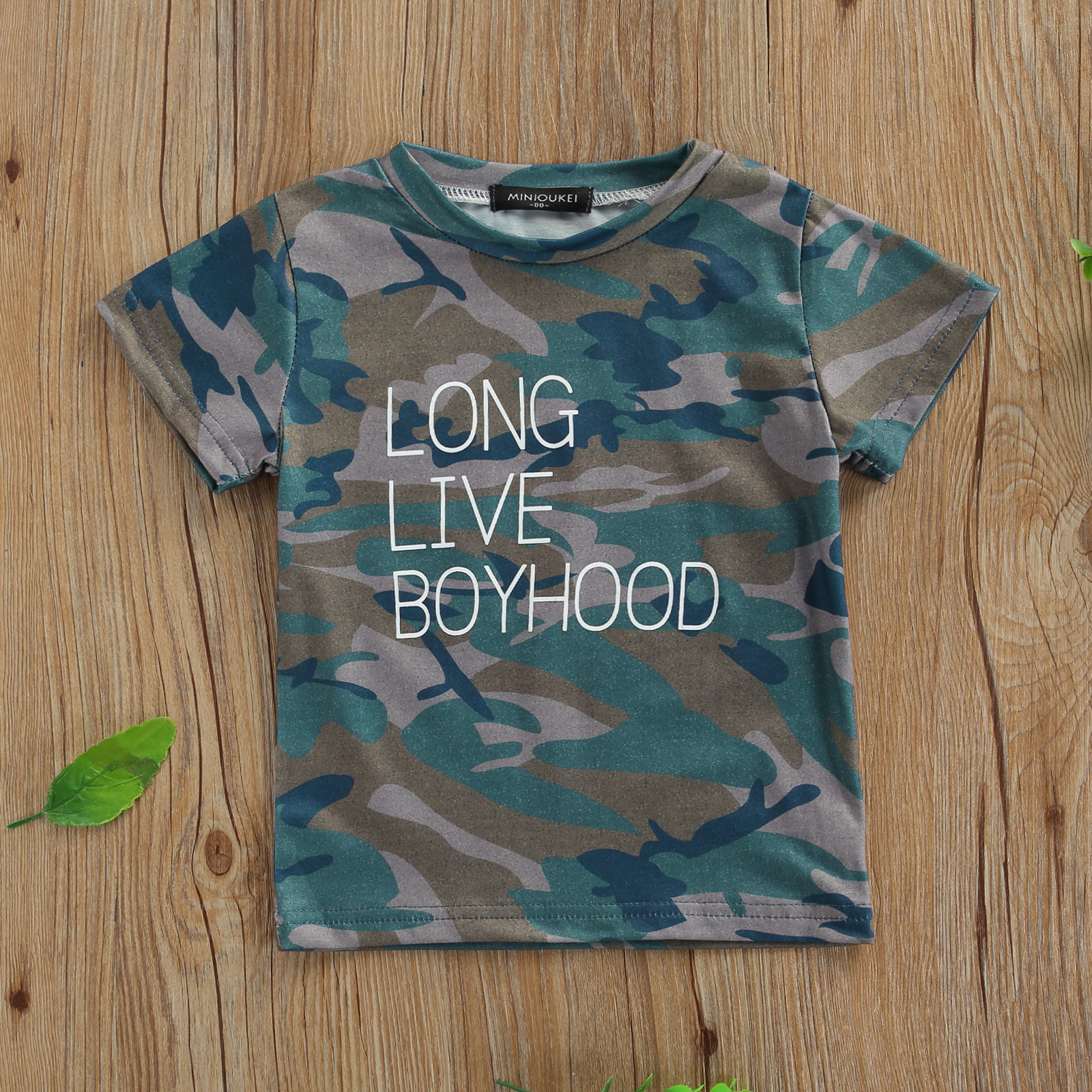 Breathable Summer Little Boys T-shirt, Creative Camouflage Letter Printing Short Sleeve Round Collar Top Children Casual Clothes