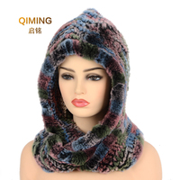 Hat Women New Knitted Real Rex Rabbit Fur Hat Hooded Scarf Winter hats for Woman Cap Warm Natural Fur Hat With Neck Scarves