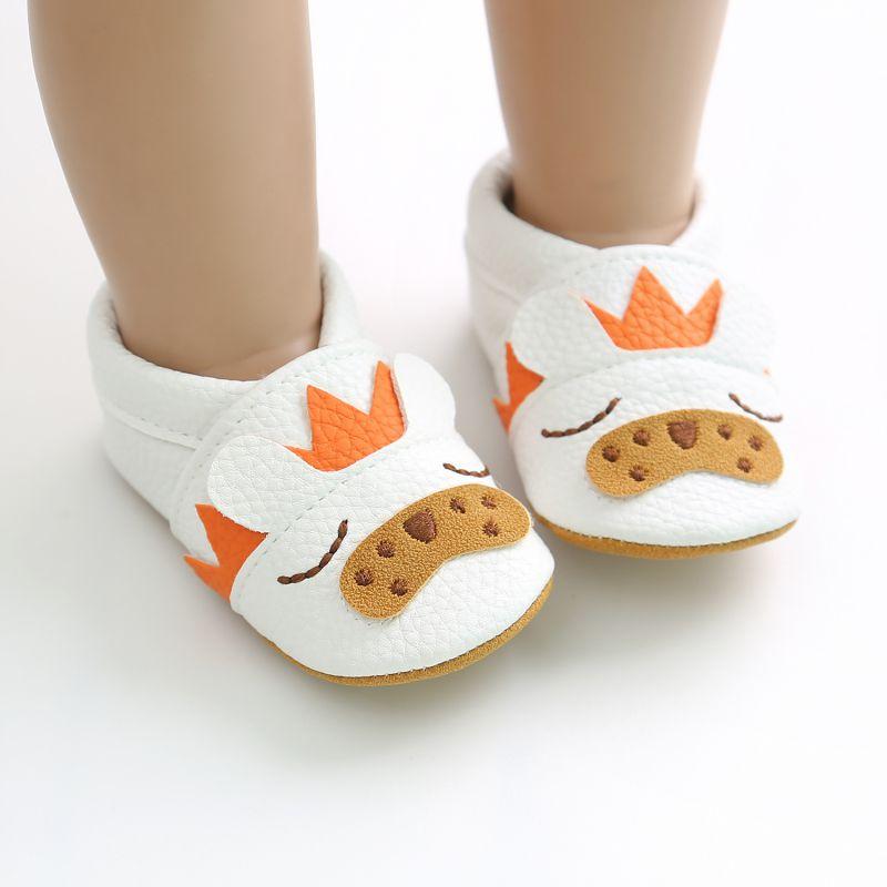 Dessin animé bébé chaussures doux en cuir véritable bébé garçons filles infantile chaussures premiers marcheurs 2