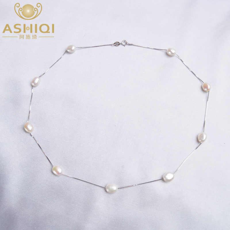 Ashiqiバロックナチュラルパールネックレス女性のための 925 スターリングシルバーチェーン 6-7 ミリメートル淡水真珠ファッションジュエリー