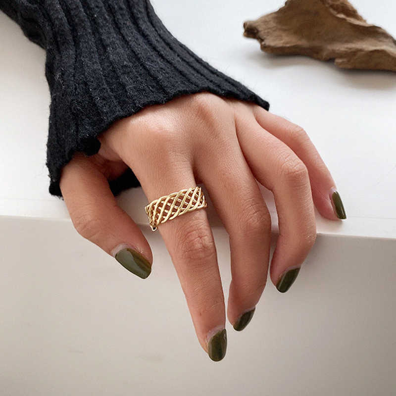 Peri'sBox 2 Designs Multi Layers Chain Gold Rings Hollow Mesh Geometric Rings for Women Minimalist Stackable Rings 2019 Vintage