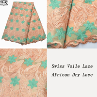 H&Q Vintage Cotton Lace Fabric Swiss Voile Lace In Switzerland African Dry Lace 5 Yards/Pieces 2020 Embroidered Lace With Stones