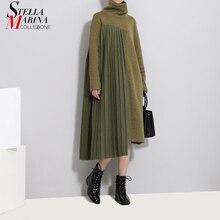 2020 Winter Frauen Grün Plissee Pullover Kleid Patchwork Langarm Rollkragen Dame Casual Unregelmäßigen Stil Kleid Robe Femme 3031