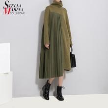 2020 חורף נשים ירוק קפלים סוודר שמלת טלאים ארוך שרוול גולף גברת מזדמן סדיר סגנון שמלת Robe Femme 3031