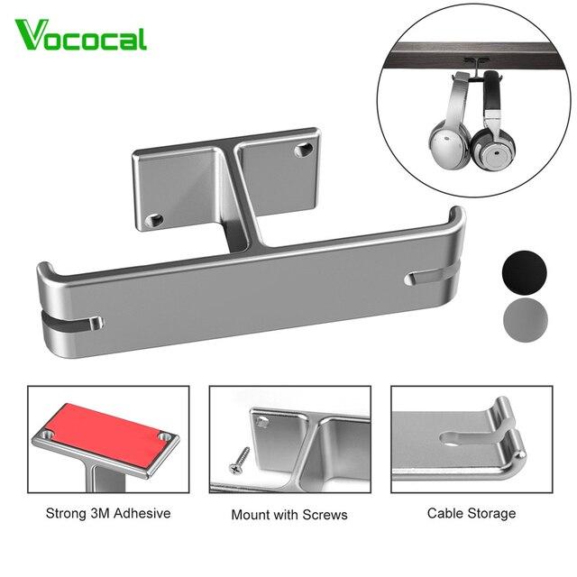 Vococal אוזניות כפולה קולב עמיד אלומיניום אוזניות וו בעל קל להתקין 2 ב 1 אוזניות הר תחת מעמד שולחן מדף