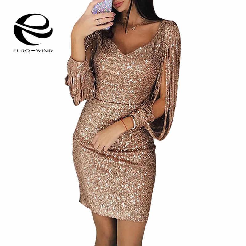 2019 ใหม่แฟชั่นผู้หญิงเซ็กซี่ V-Neck Sequined Glitter เย็บ Shining แขนยาวแขนสั้นมินิชุดสำหรับหญิง Vestidos
