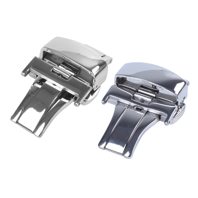 2Pcs Deployment Butterfly Clasp Watch Buckle Stainless Steel Leather Strap Band Silver - 18Mm & 20Mm