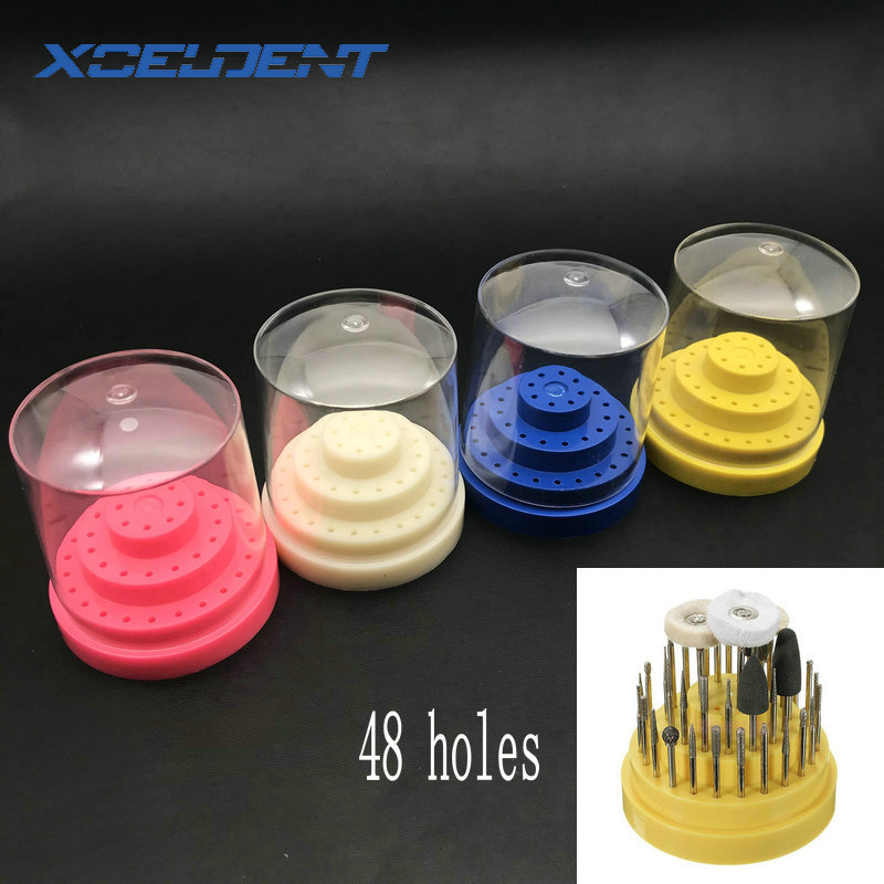 1pc Nail Grinding Head Box Dental 48 Holes (Round) Plastic Bur Holder Burs Block Case Box