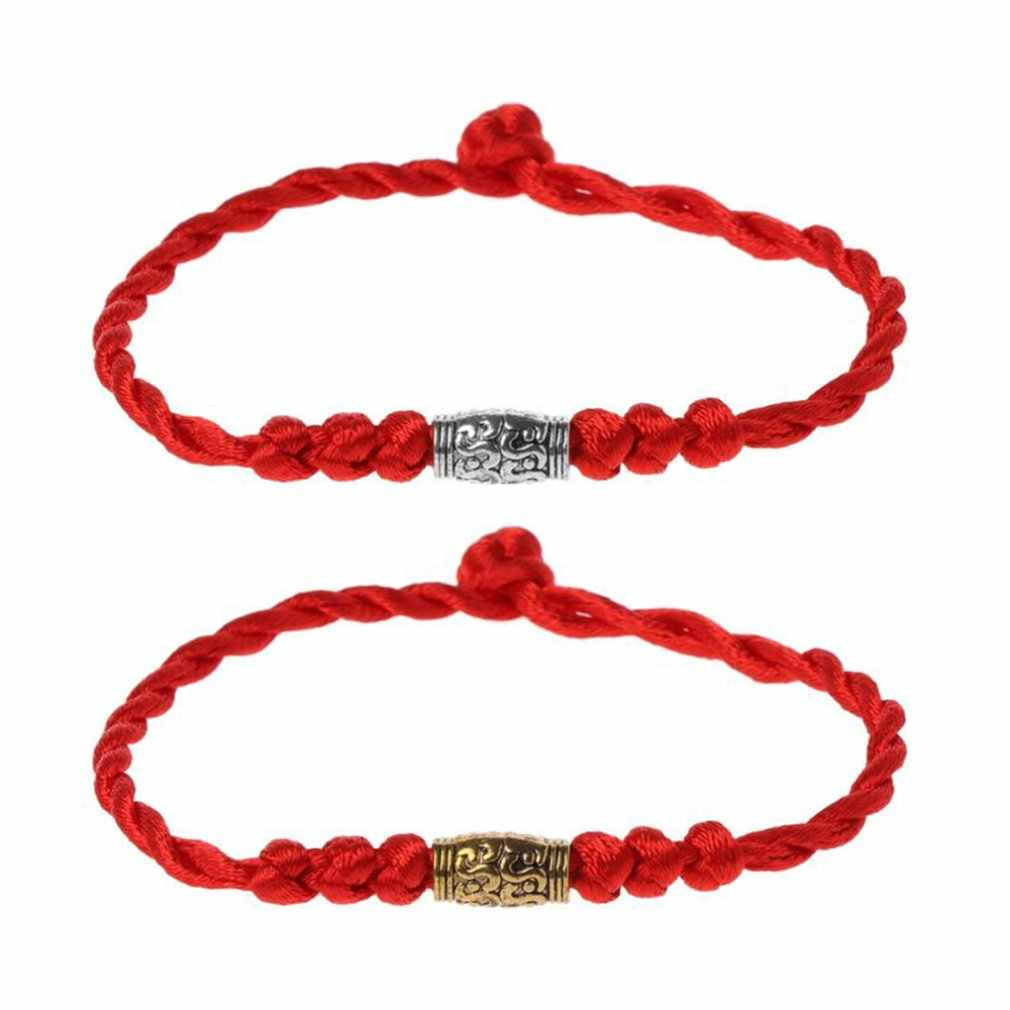 Традиционный тибетский серебряный браслет с красной нитью, амулет, пара браслетов, ювелирные изделия для мужчин и женщин