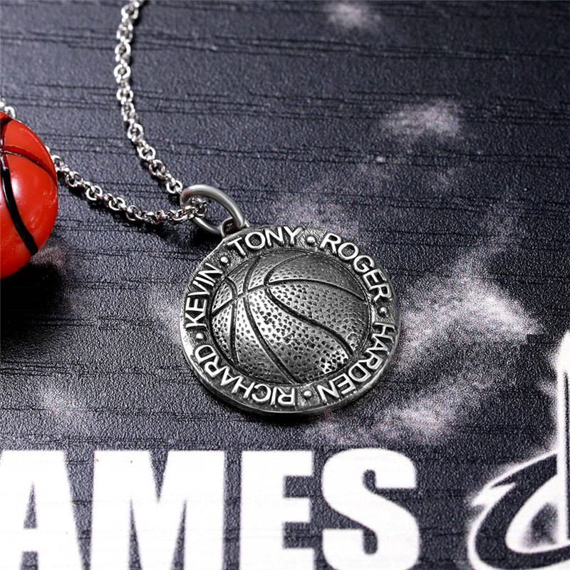 Strollgirl 925 sterling silver DIY custom basketball pendant necklace men and women athlete popular jewelry hot sell couple gift