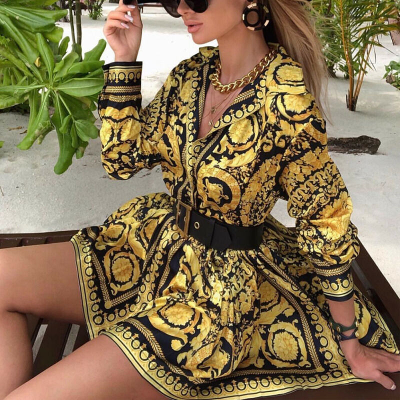 Fashion Vintage Womens Boho Dress 2020 Spring Loose Long Sleeve Party A Line Dress Ladies Sexy V neck Swing Short Mini Dresses|Dresses| - AliExpress