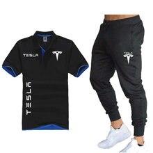 POLO da uomo Set + pantaloni 2 pezzi auto elettrica nuovi uomini Tesla POLO Shirt Set Car Fan T-shirt in puro cotone Set camicia da corsa