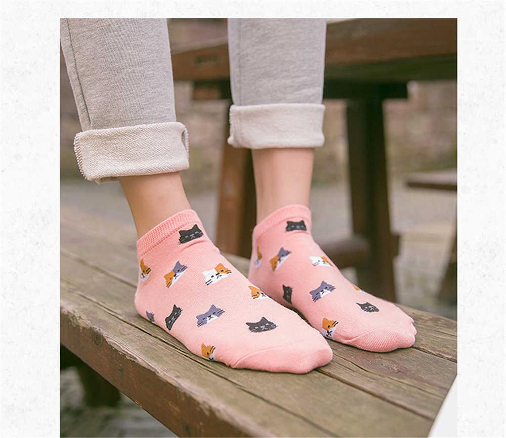 Теплые удобные женские носки с котом из хлопка и бамбукового волокна для девочек женские невидимые носки ярких цветов с низким голенищем Kwakii