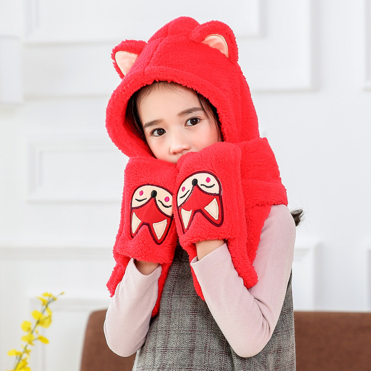 Korean-style Winter Thick Warm CHILDREN'S Cartoon Cute Fox Hat Scarf Gloves Three Pieces One-piece Three-piece Set