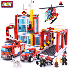 QWZ City Fire Station Legoingly Building Blocks Firefighter Figures Truck Enlighten Bricks Toys for Children Gift