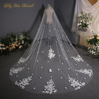 3D Flowers Embellished 3m Long Bridal Veils One Layer Soft Tulle Wedding Veil with Charming Colored Lace Appliques
