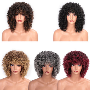 Image 5 - ELEGANT MUSES Synthetic Afro Kinky Curly Wigs Short Curly Wig with Bangs for Black Women Mixed Brown Ombre Blonde