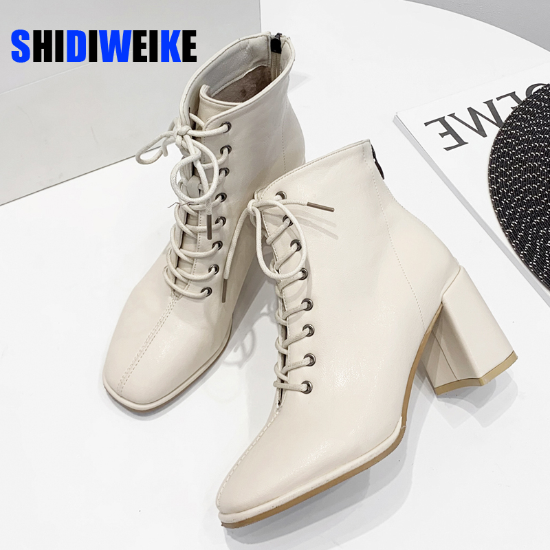 HOT women Ankle boots PU Leather 35 39 feet length boots for women Round Toe Chelsea boots high heel boots AB784